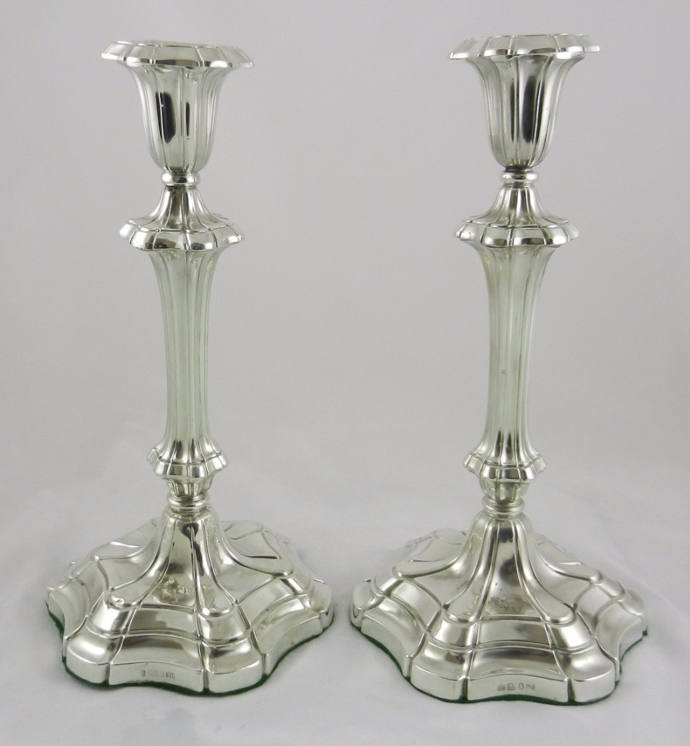 pair william iv silver candlesticks