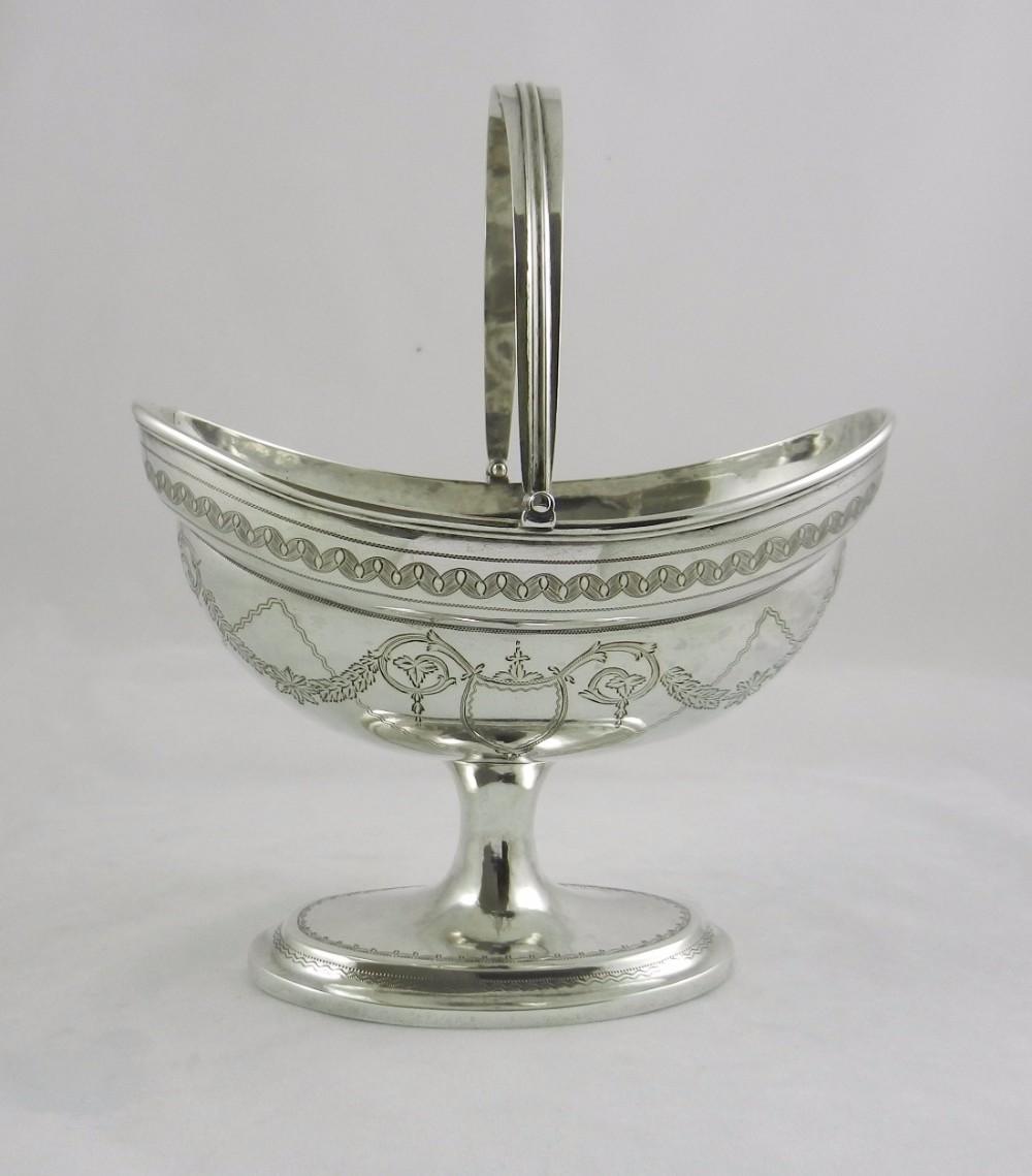 georgian irish silver swinghandled basket