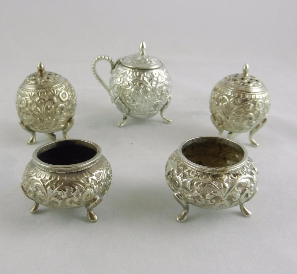 antique kutch silver condiment set