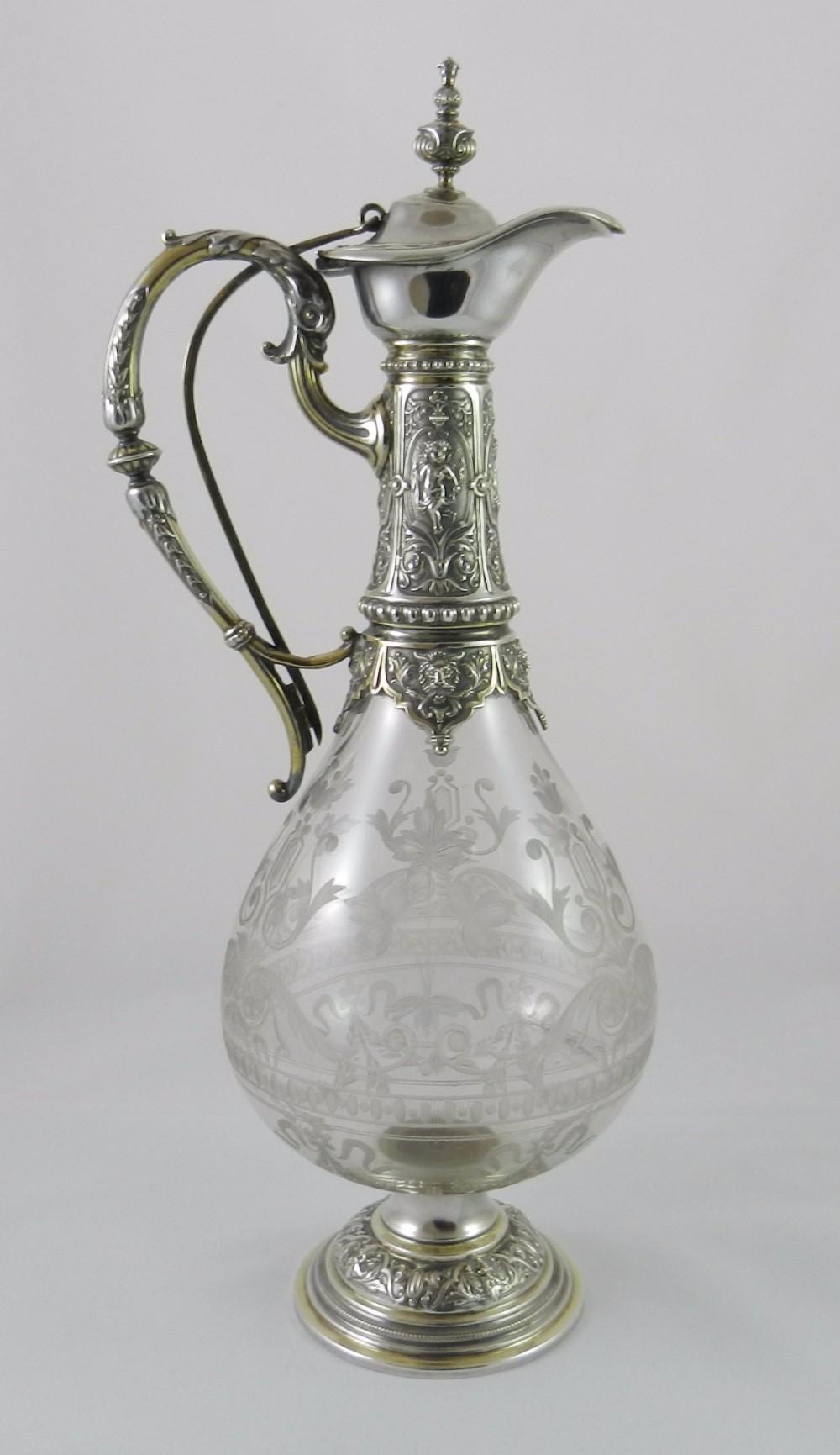 antique silvermounted wine ewer