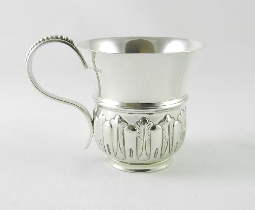 silver christening mug