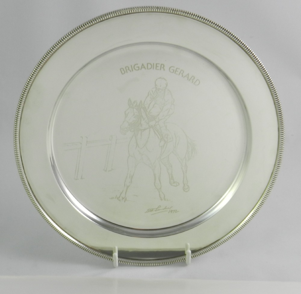 silver racehorse plate