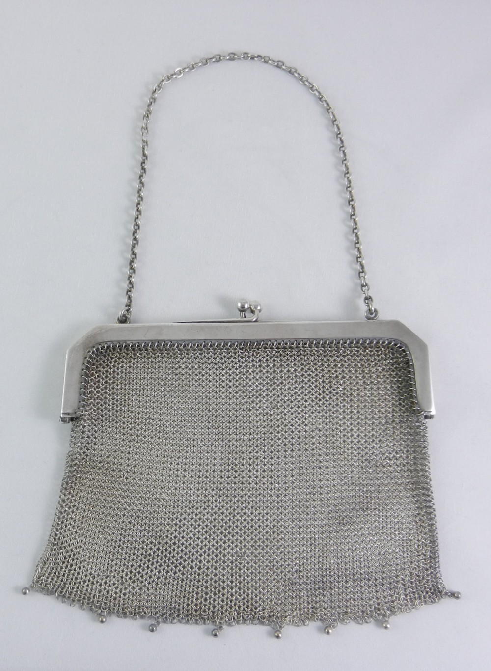 antique silver mesh evening bag