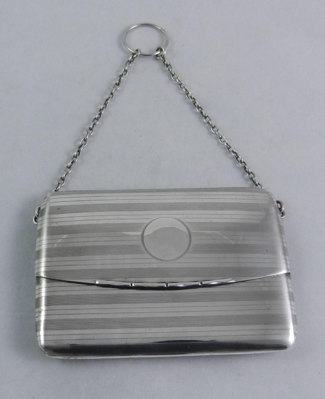 antique silver dance card purse