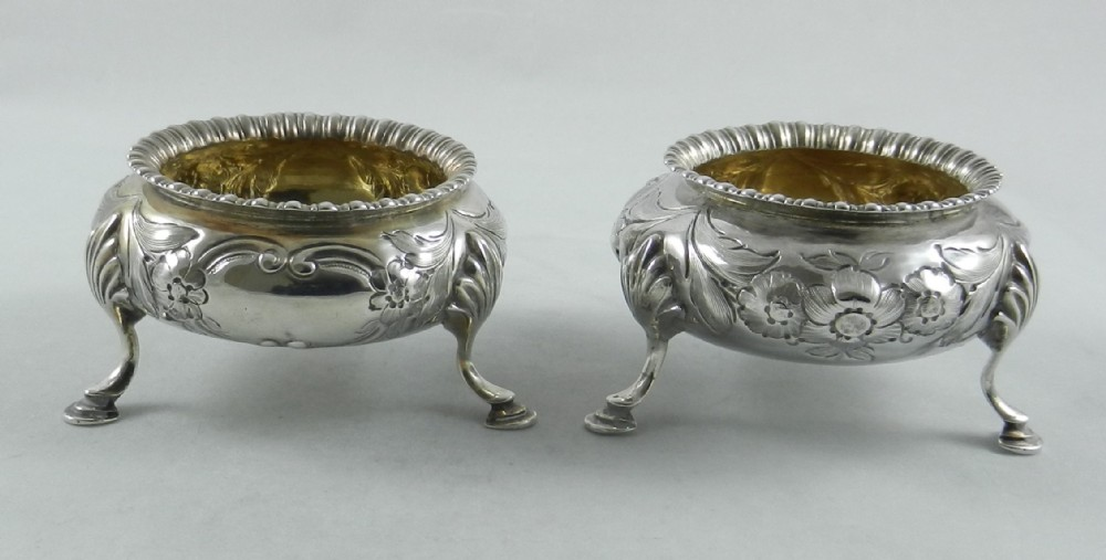 pair antique silver salts