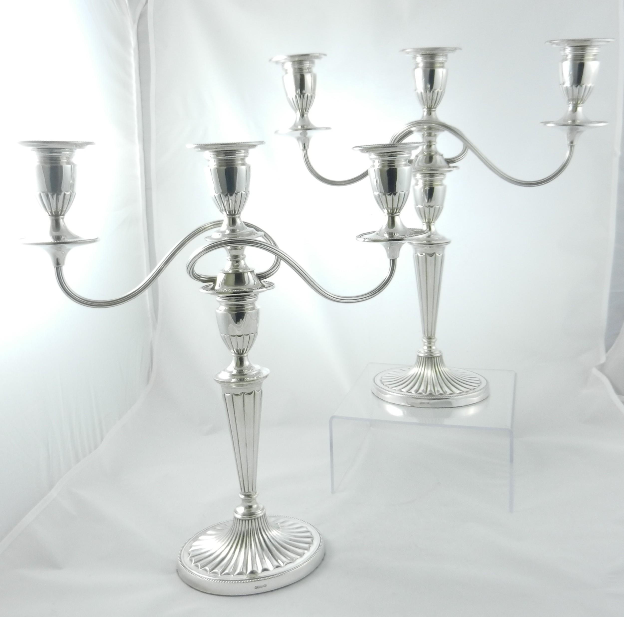 pair silverplated candelabra