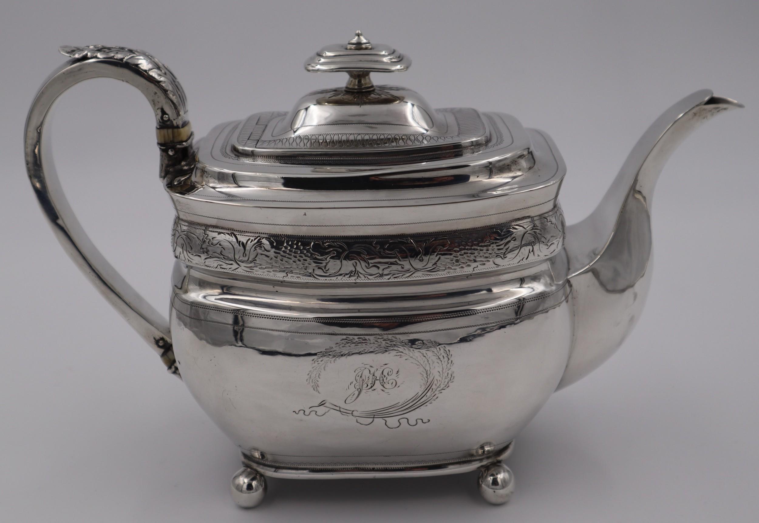 antique silver newcastle tea pot