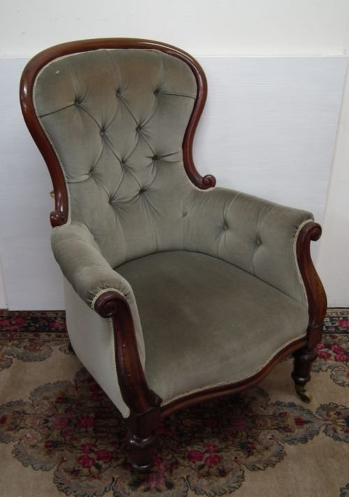 early victorian gents easy chair. antique photo - Early Victorian Gents Easy Chair 116045 Sellingantiques.co.uk