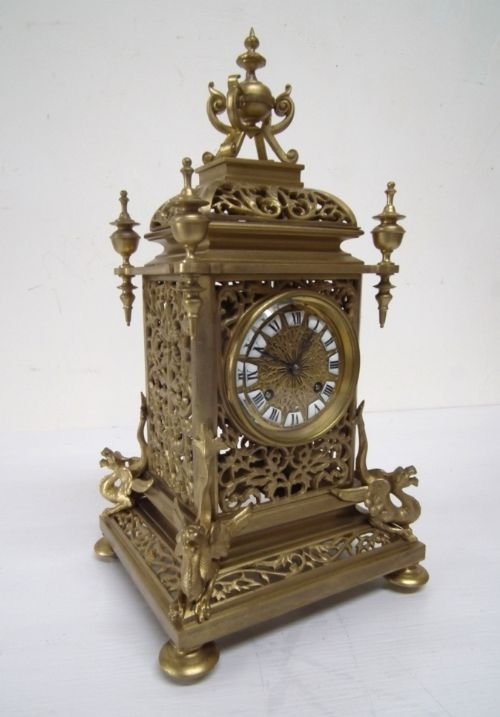 victorian cast brass mantel clock