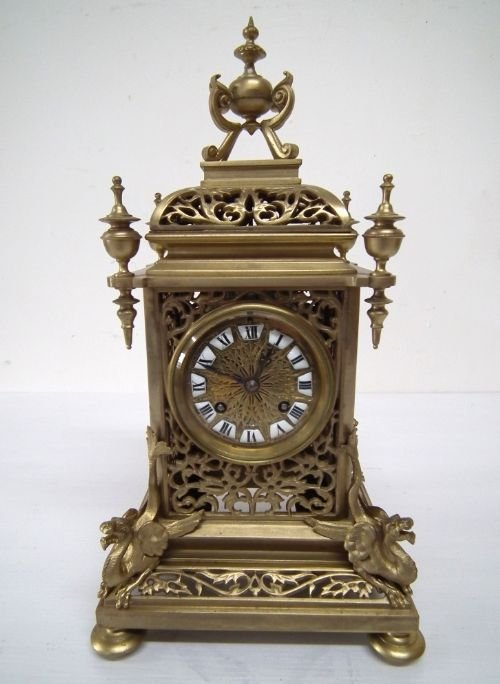 victorian cast brass mantel clock - photo angle #2