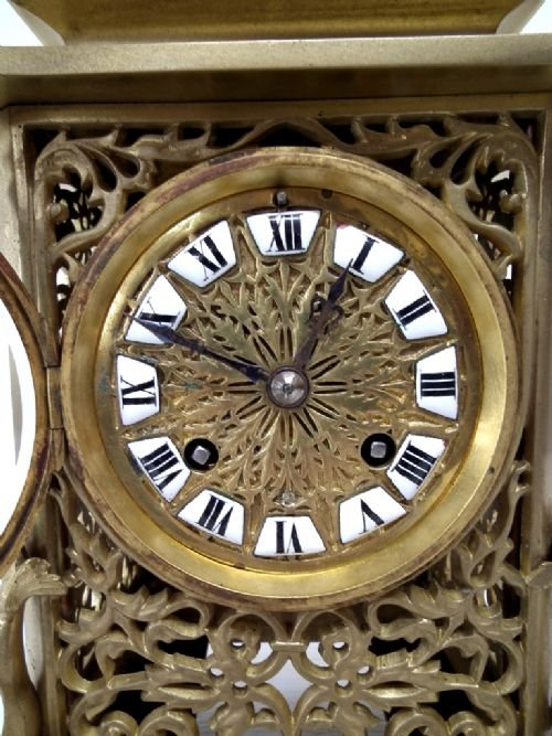 victorian cast brass mantel clock - photo angle #3