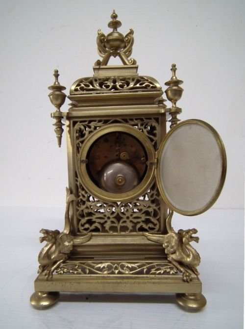 victorian cast brass mantel clock - photo angle #5