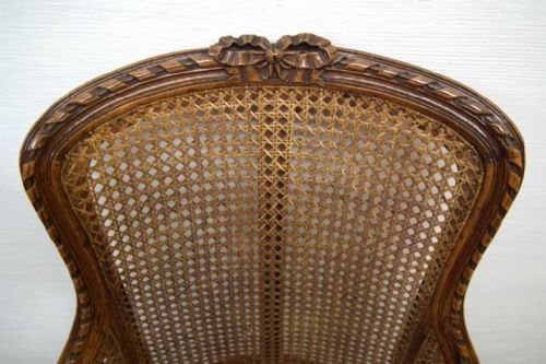 carved walnut bergere chair - photo angle #3