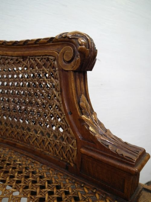 carved walnut bergere chair - photo angle #4