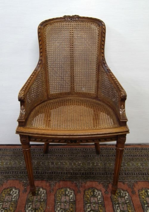carved walnut bergere chair - photo angle #2