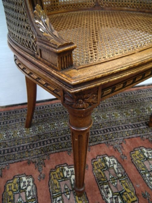 carved walnut bergere chair - photo angle #5