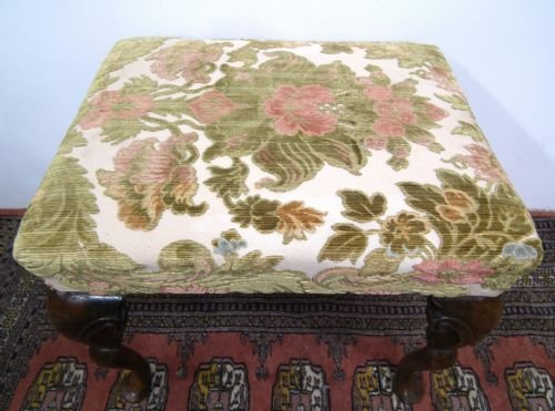 george ii style walnut stool - photo angle #3