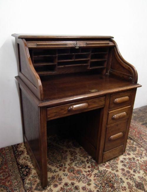 small oak roll top desk antique photo