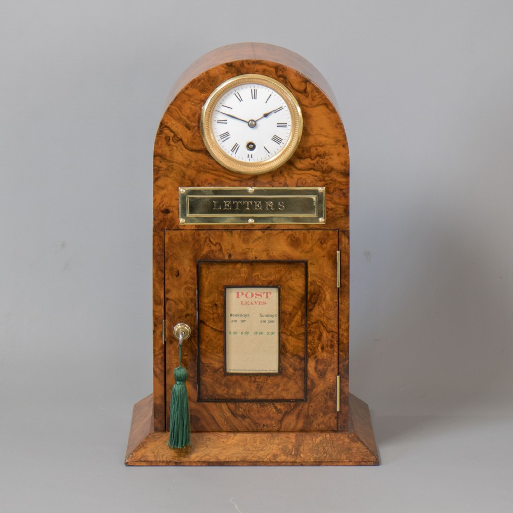 a victorian arch top burr walnut country house post letter box with 8 day timepiece