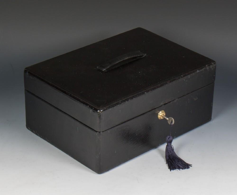 asprey son victorian black morocco leather jewellery box
