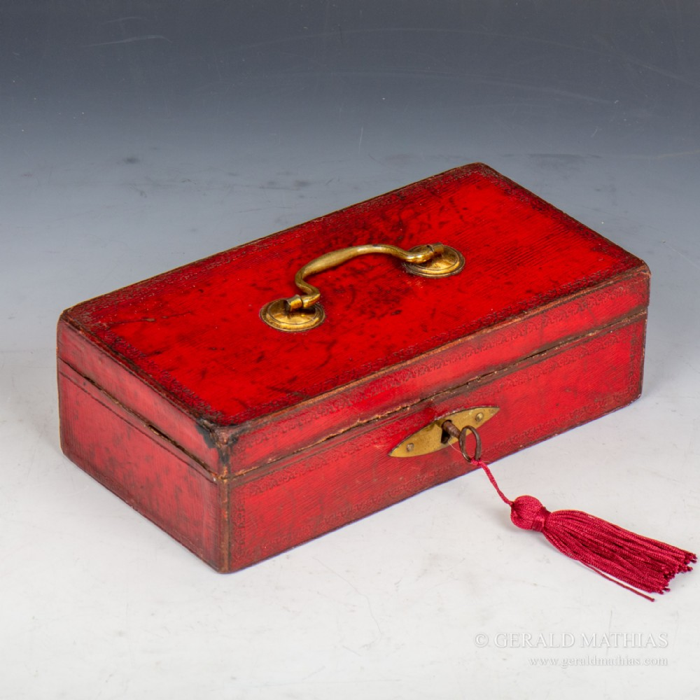 william chapple an early 19th century miniature red leather despatch box