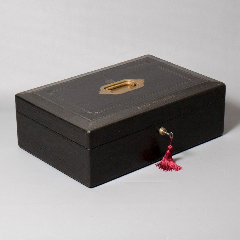 rivers commission a mid victorian wickwar blue morocco leather despatch box