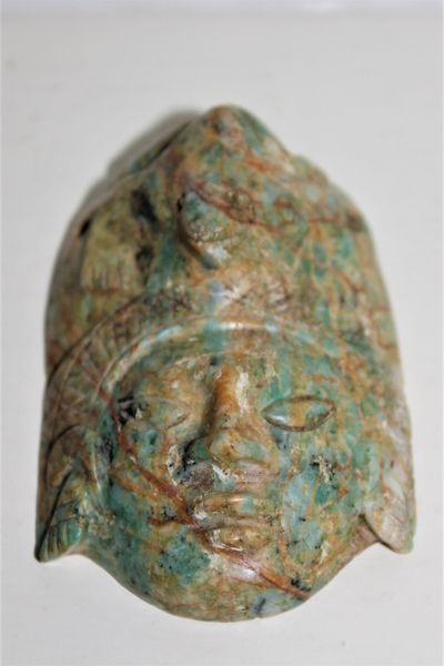 early chinese carved jade talisman pendant mask
