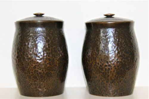 a pair of japanese bronze tea canisters