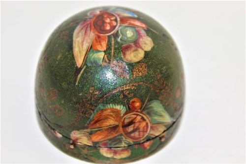dome shaped hand painted papier mache snuff box
