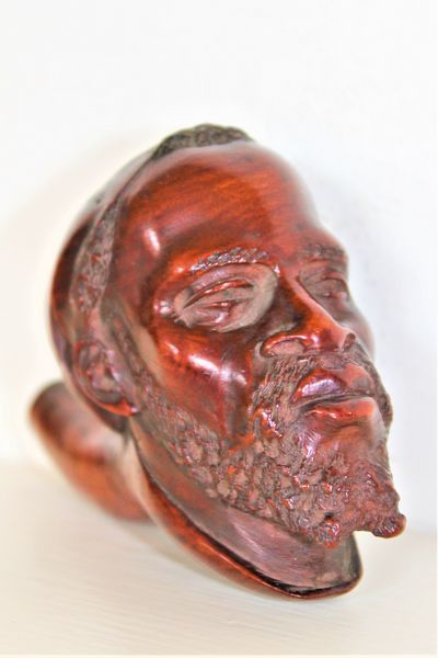 carved wood north african moor head pipe bowl