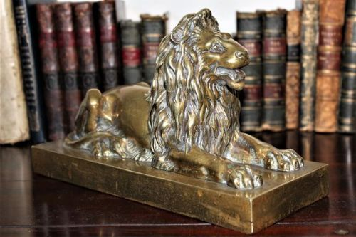 heavy brass or polished bronze lion