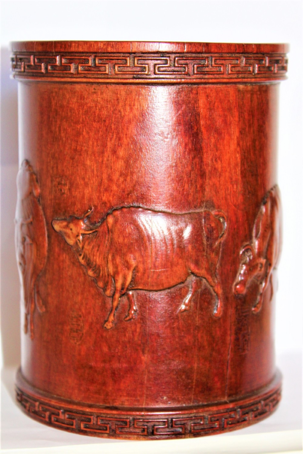 a superb and very finely carved chinese hardwood brush pot