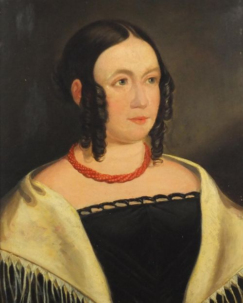 framed late georgian oil portrait on canvas of a young woman