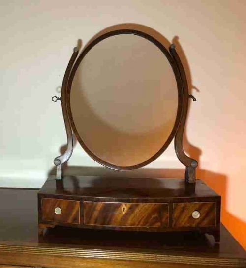 george iii inlaid mahogany box base toilet mirror