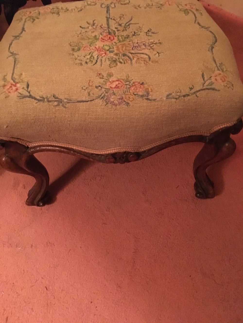 victorian walnut upholstered stool on cabriole legs