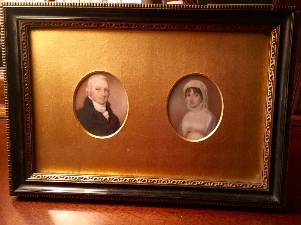 rare pair of 18th century miniature portraits on ivory of a named husband wife couple