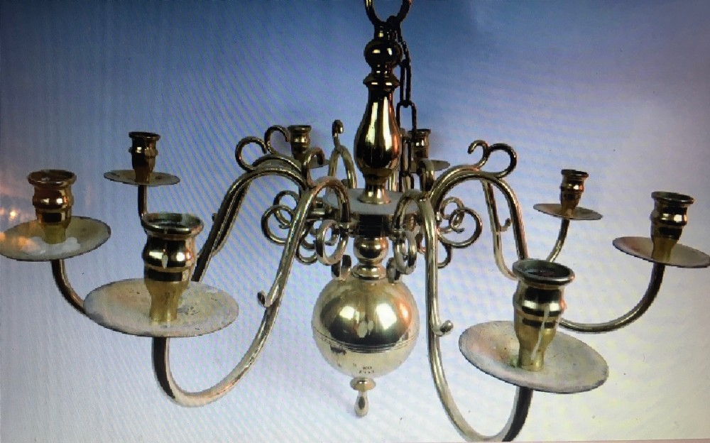 rare eight branch brass hanging chandelier for candles