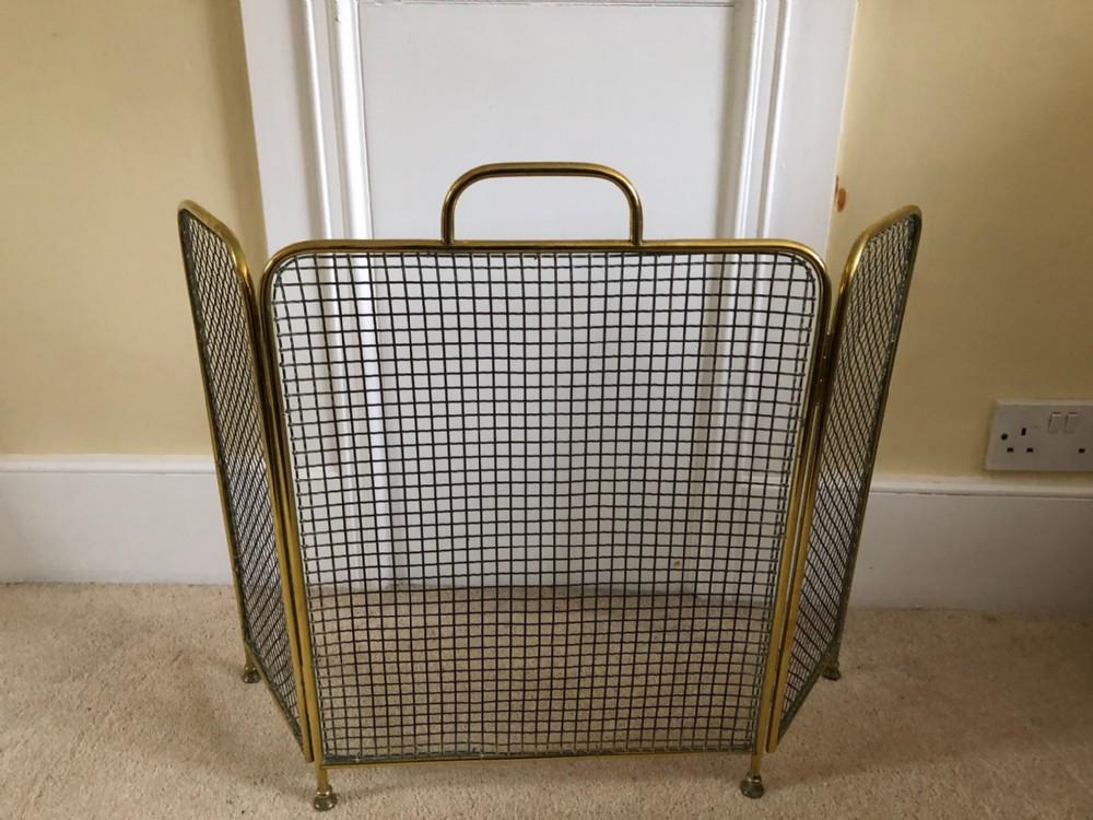 edwardian brass framed mesh fireguard