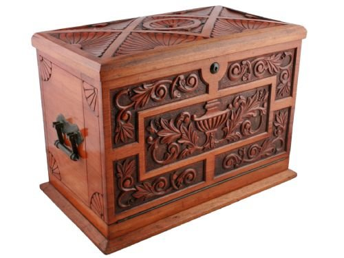 Victorian carved walnut stationery cabinet box