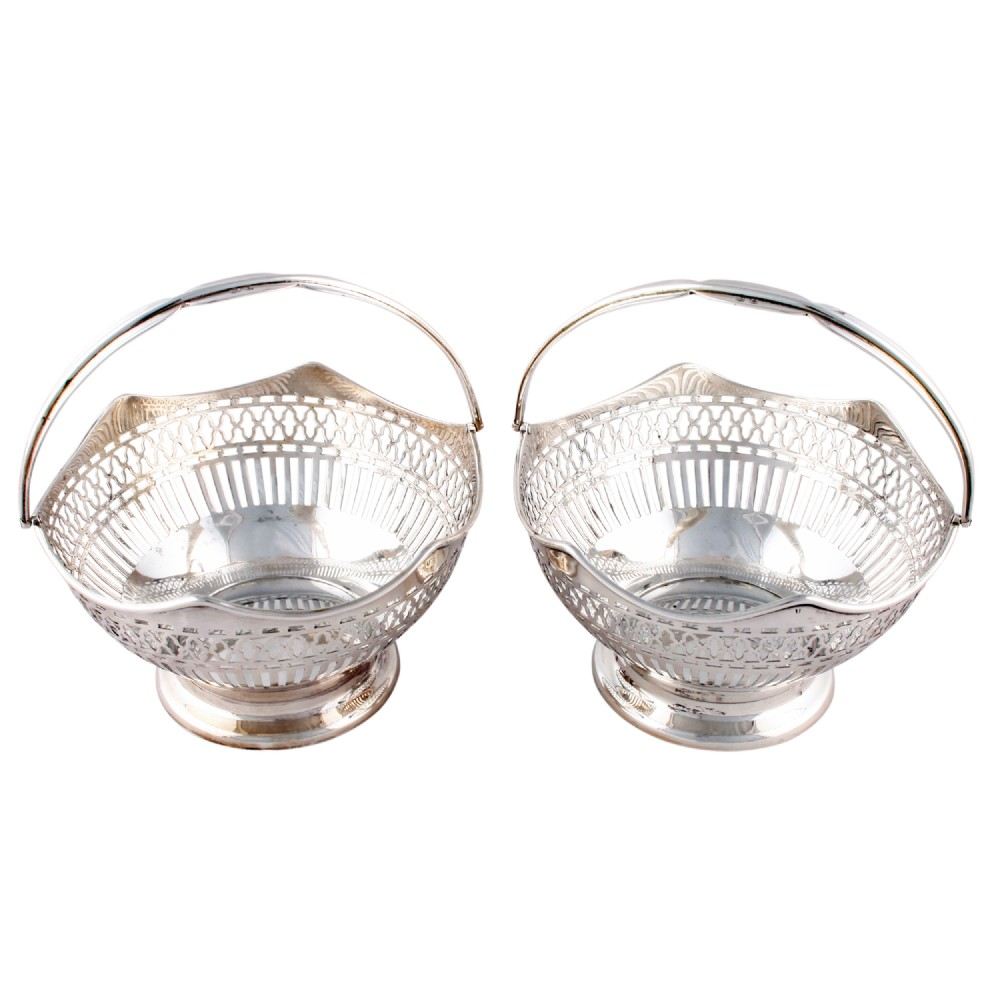 pair of sterling silver baskets