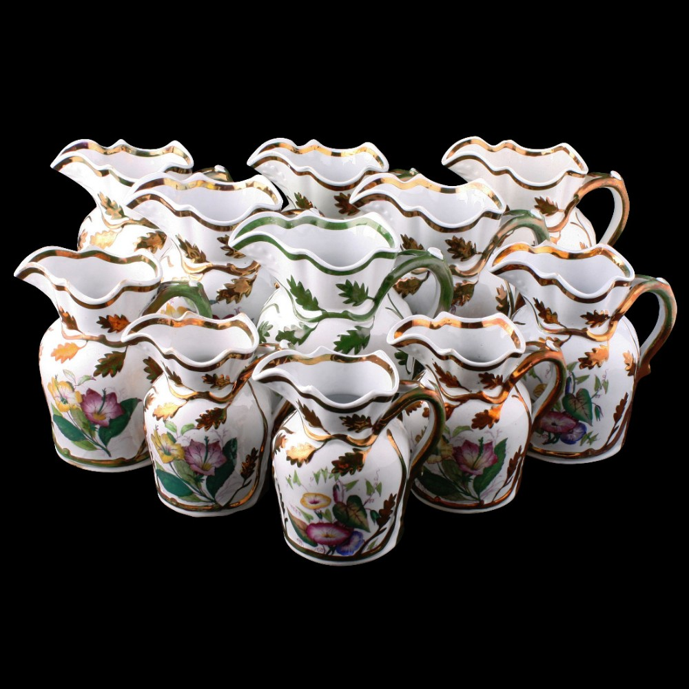 collection of 11 livesley powell co ironstone jugs