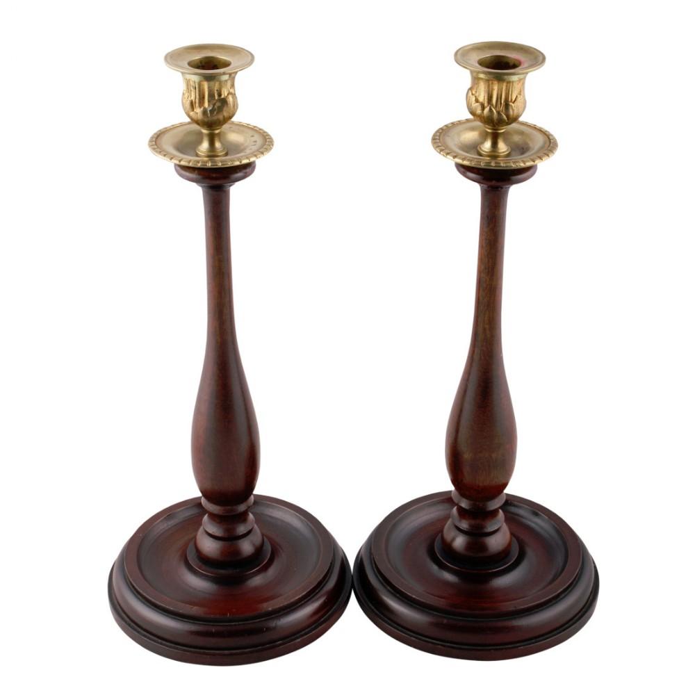 pair of mahogany candlesticks