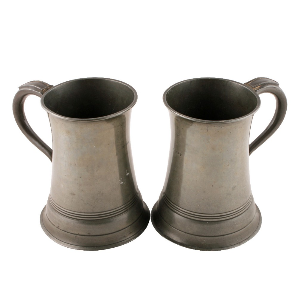 pair of quart pewter tankards