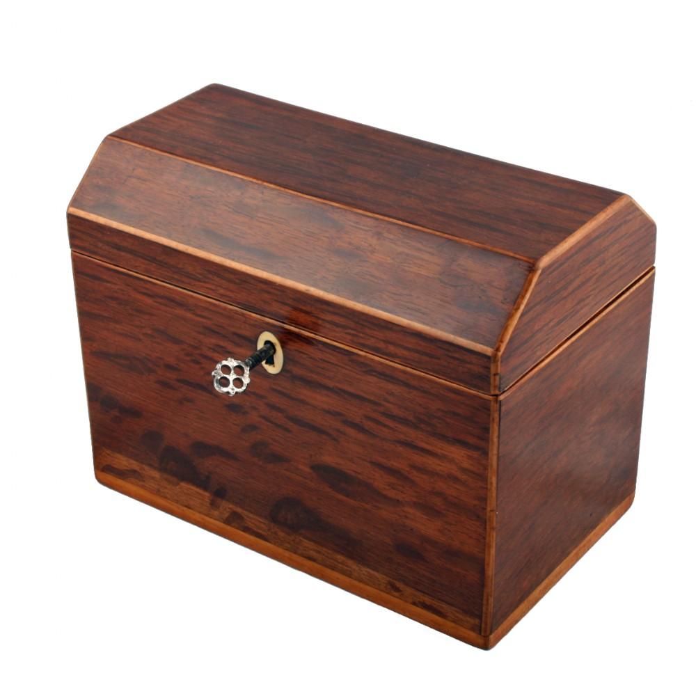 regency partridge wood tea caddy