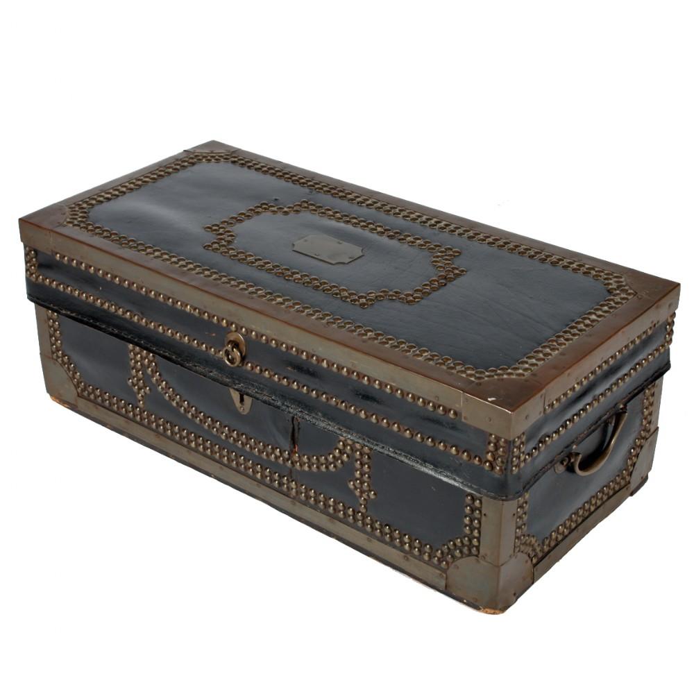 georgian leather brass bound trunk