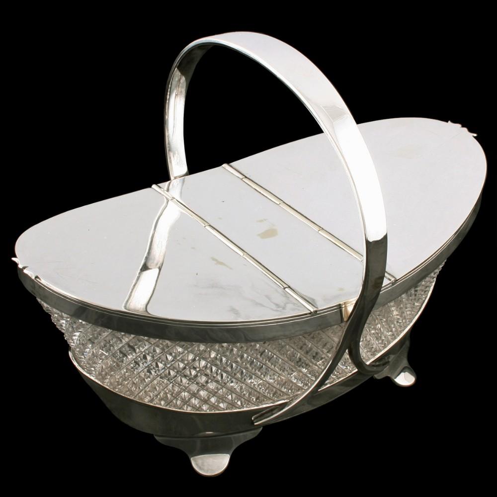 crystal silver plate biscuiteer