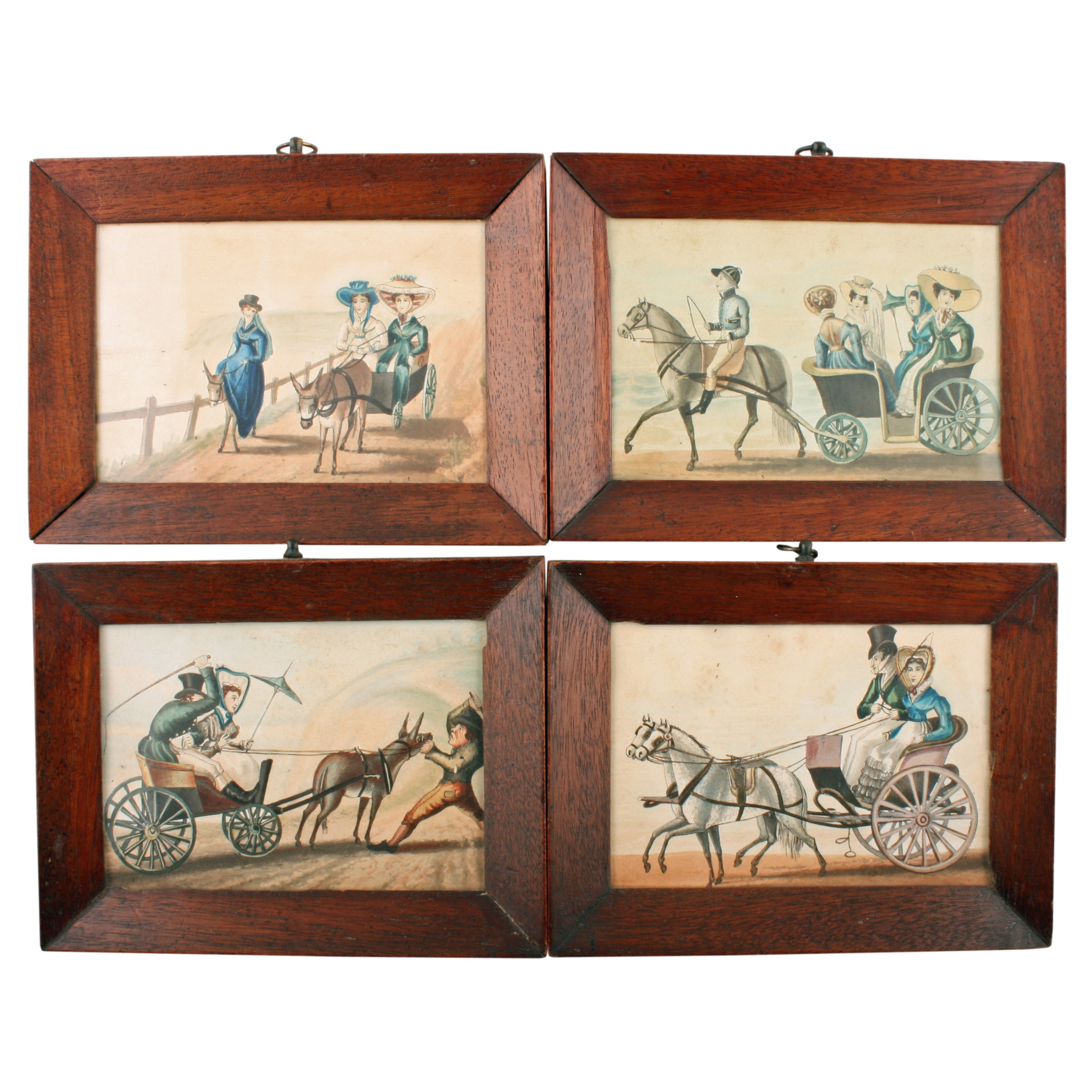 four georgian etchings of carriages