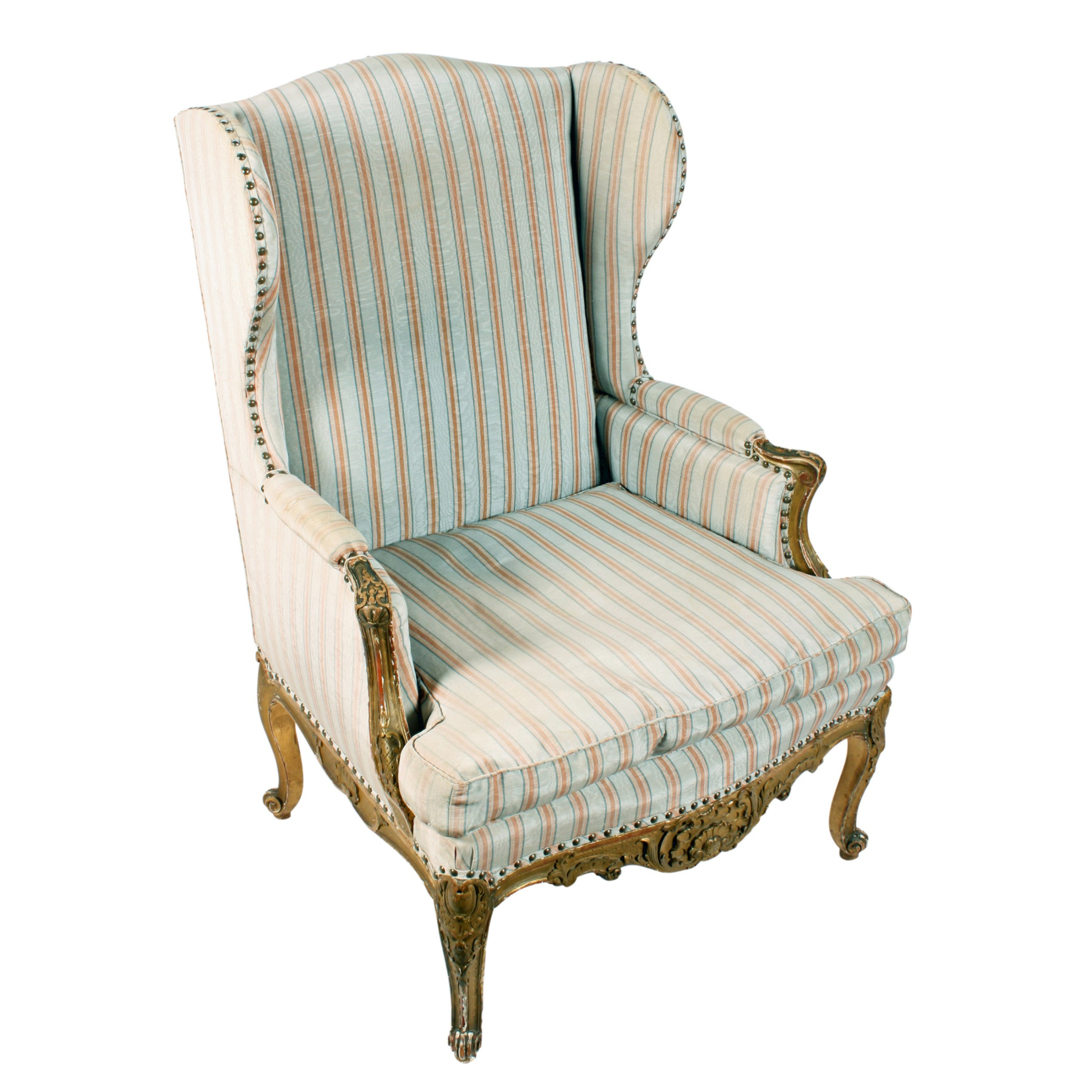 carved gilded french wing arm chair
