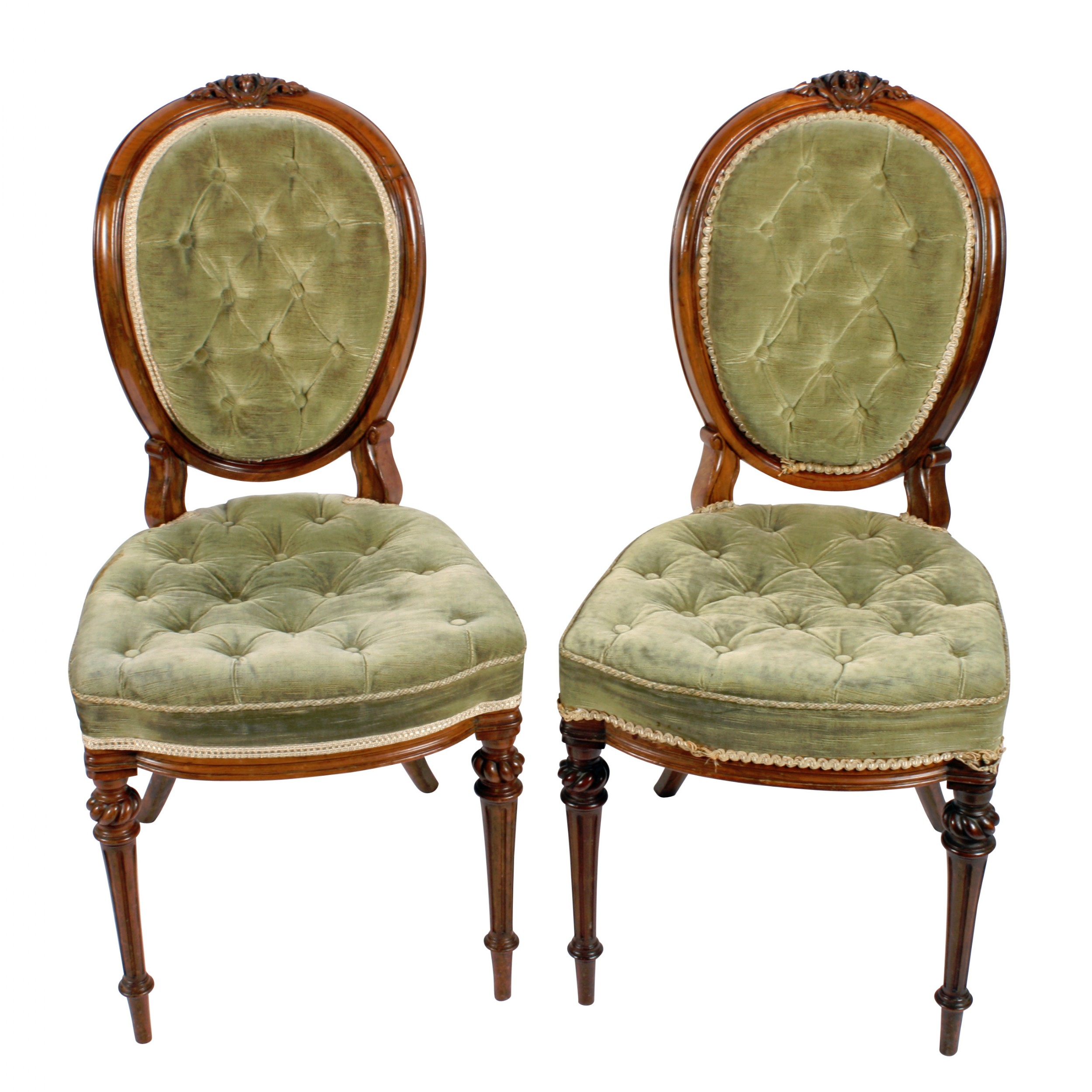 pair of walnut cameo back chairs