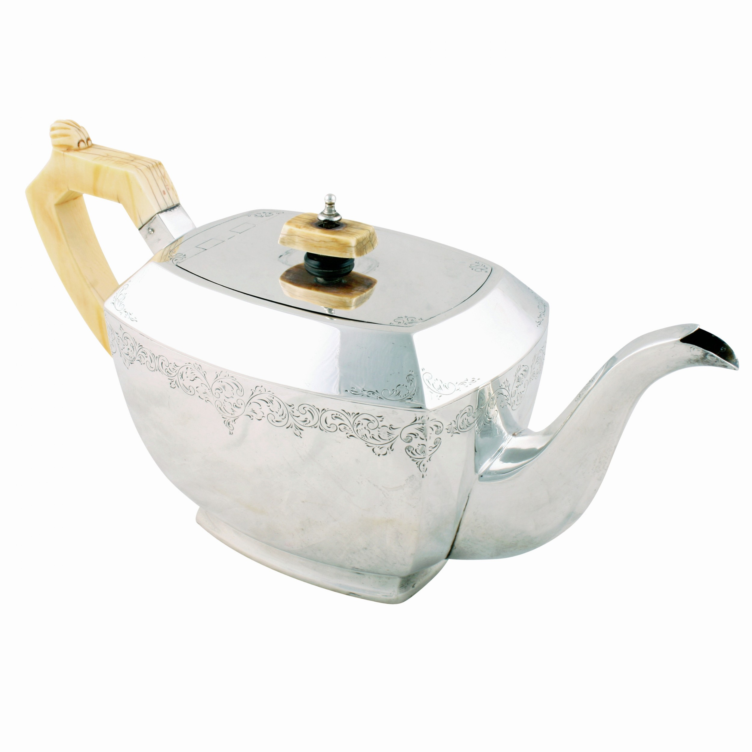 george vi art deco sterling silver teapot